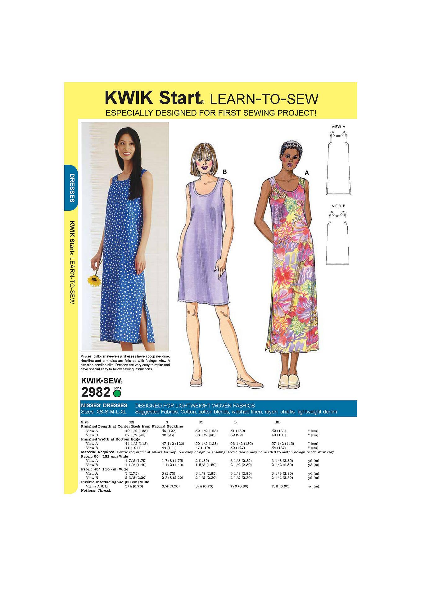 Kwik Sew Learn-To-Sew Dress Sewing Patterns, 2982 at John Lewis ...