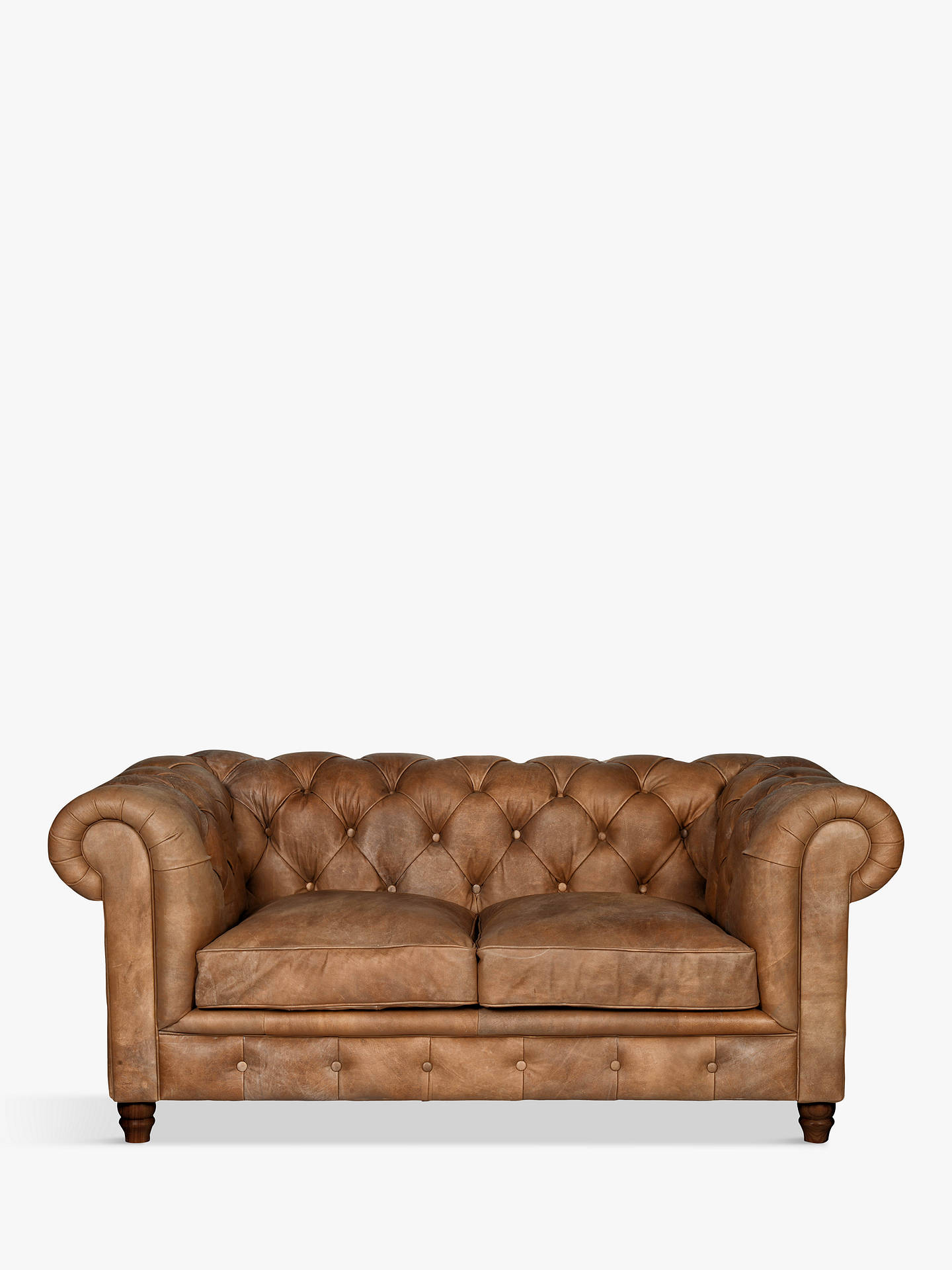 Halo Earle Chesterfield Medium 2 Seater Leather Sofa Riders Nut Online At Johnlewis