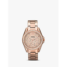 Buy Fossil ES2811 Women's Riley Single Chronograph Bracelet Strap Watch, Rose Gold Online at johnlewis.com