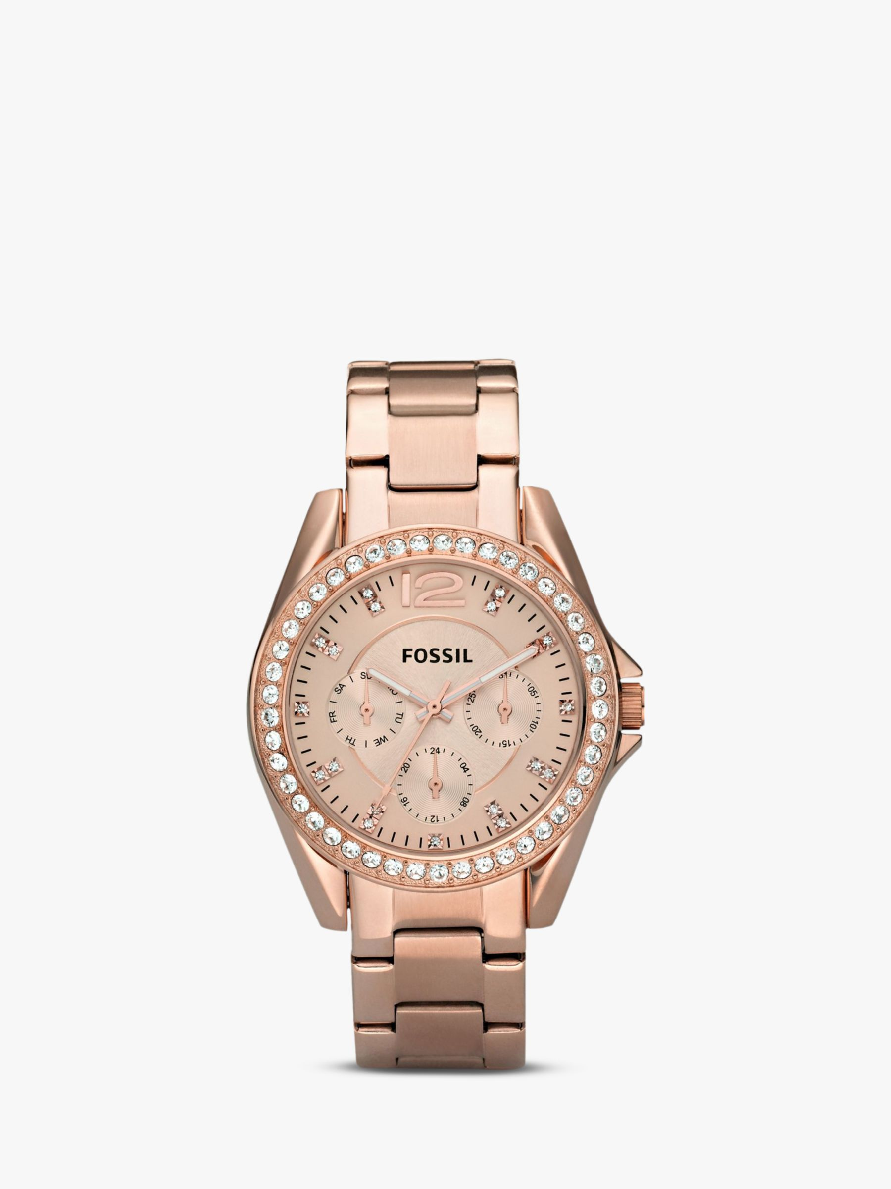 Fossil Fossil ES2811 Women's Riley Single Chronograph Bracelet Strap Watch, Rose Gold