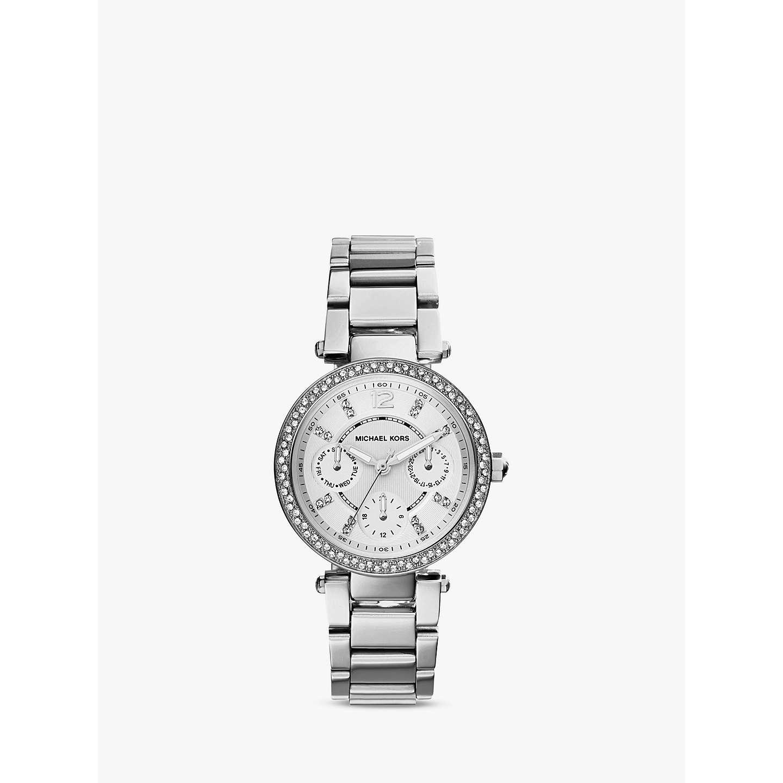 Michael Kors Mk5615 Mini Chronograph Bracelet Strap Watch Silver Online At Johnlewis
