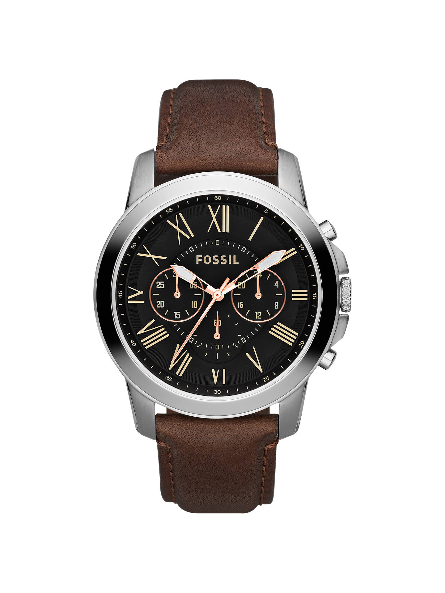 522931b553b3c Fossil Men s Grant Chronograph Leather Strap Watch at John Lewis ...