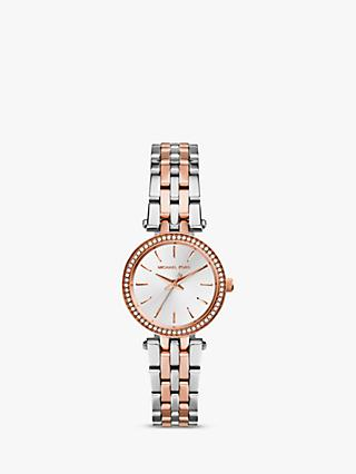 Michael Kors MK3298 Women's Mini Two Tone Stainless Steel Darci Glitz Watch, Silver / Rose Gold