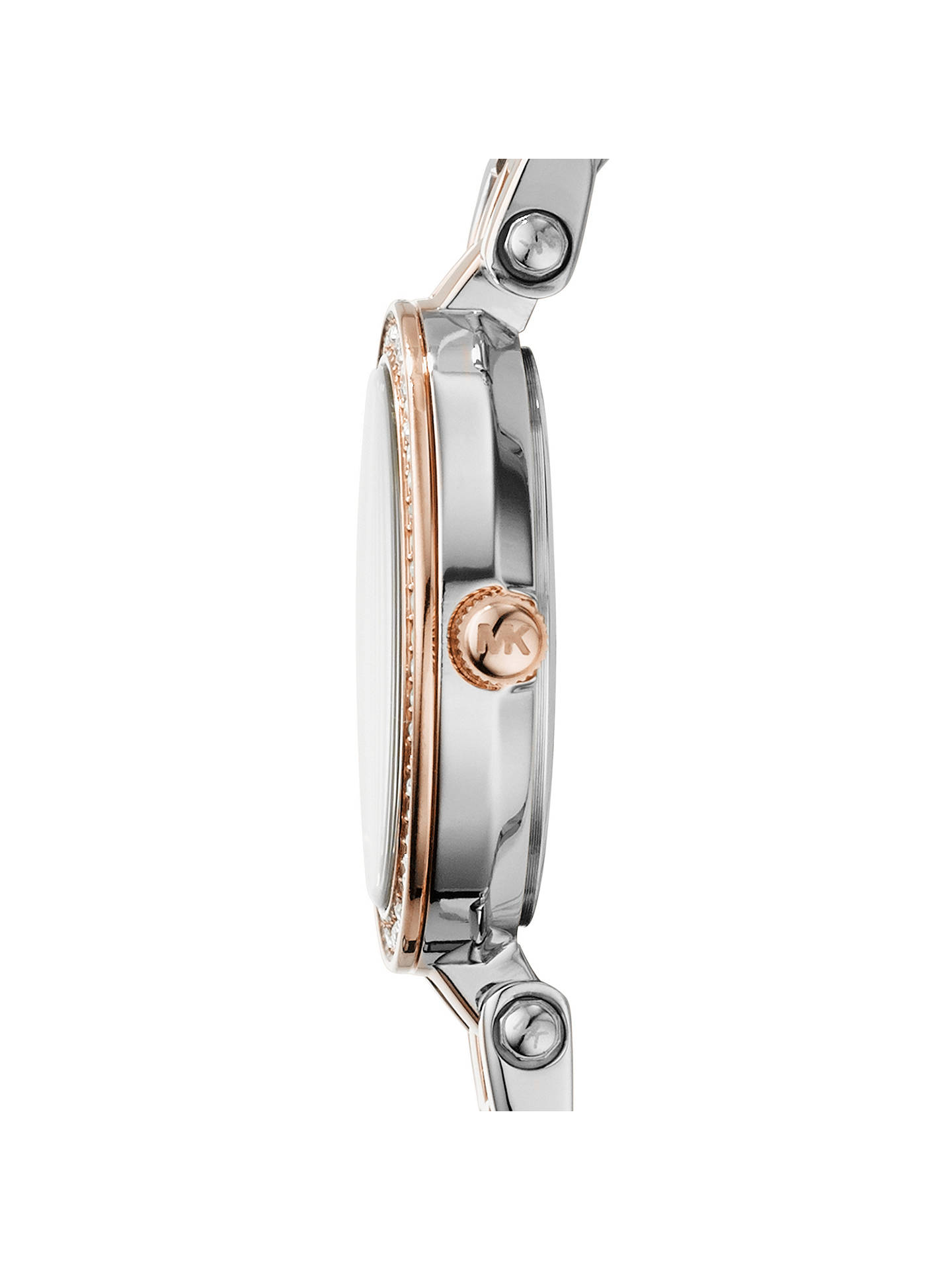 BuyMichael Kors MK3298 Women's Mini Two Tone Stainless Steel Darci Glitz Watch, Silver / Rose Gold Online at johnlewis.com