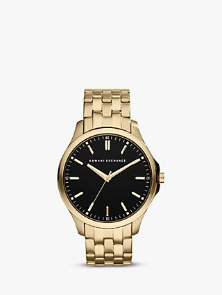 Armani Exchange AX2145 Men's Gold Plated Bracelet Strap Watch, Gold/Black
