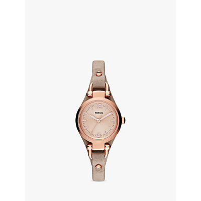Fossil ES3262 Women's Georgia Mini Leather Strap Watch, Sand/Rose Gold