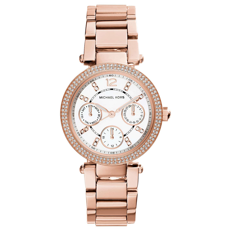 Michael Kors Mk5616 Women S Mini Chronograph Bracelet Strap Watch Rose Gold White Online At