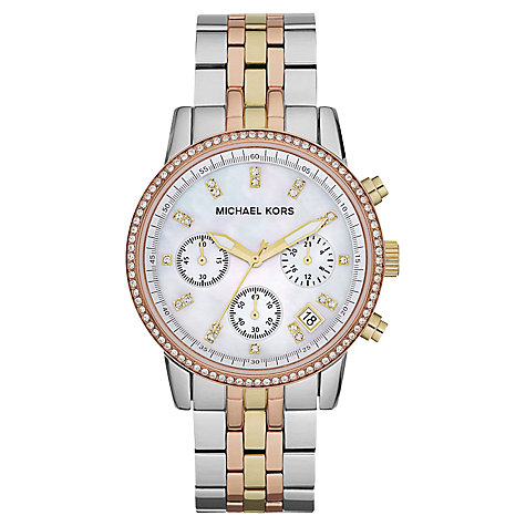 michael kors jewelry outlet online 8g2w  Buy Michael Kors MK5650 Women's Chronograph Mother of Pearl Dial Triple  Tone Bracelet Strap Watch,