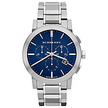Buy Burberry BU9363 Men's The City Chronograph Bracelet Strap Watch, Silver/Blue Online at johnlewis.com