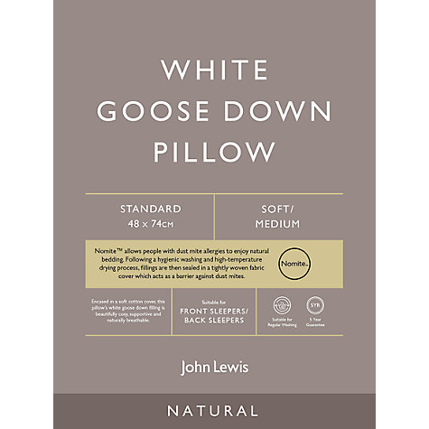 Buy John Lewis Natural White Goose Down Standard Pillow, Soft/Medium Online at johnlewis.com