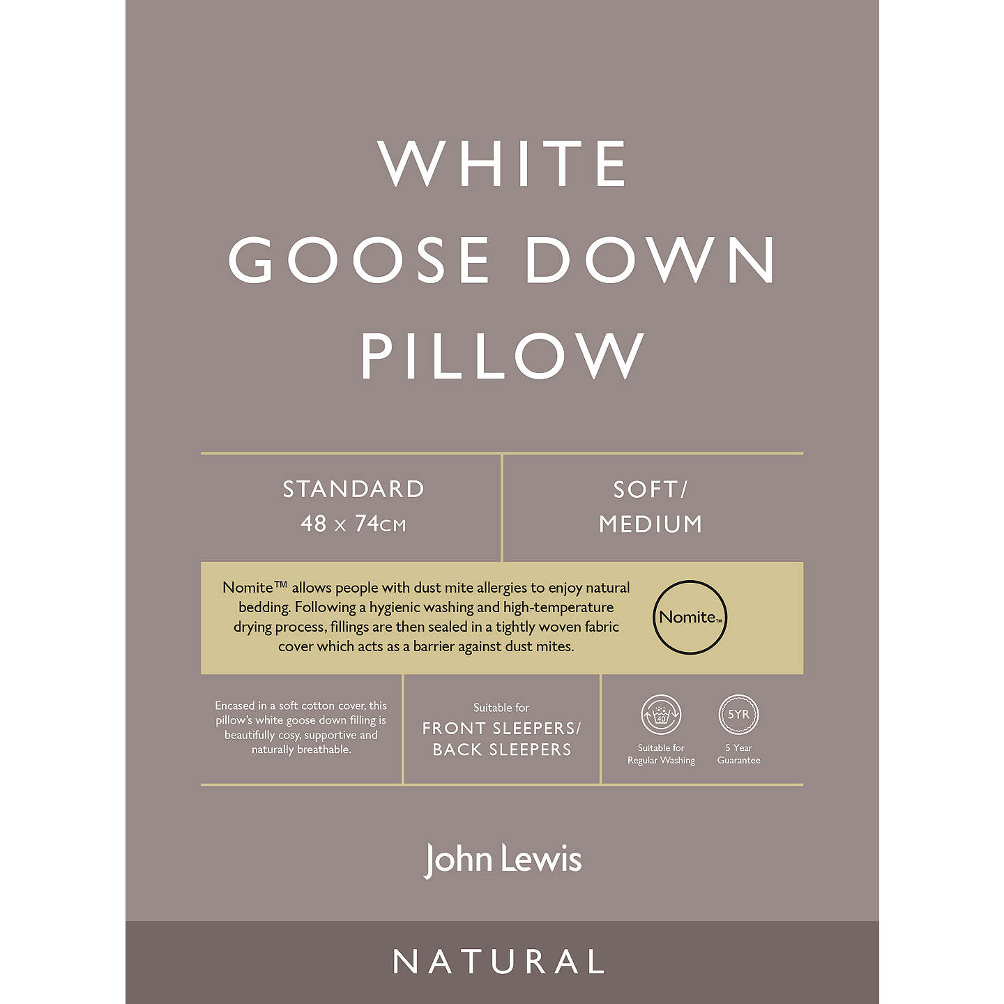 BuyJohn Lewis Natural White Goose Down Standard Pillow, Soft/Medium Online at johnlewis.com