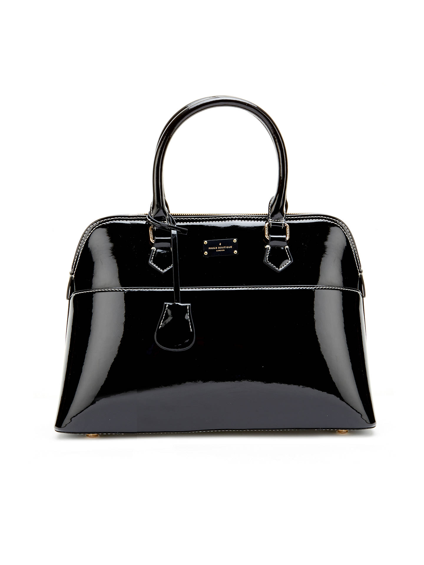 Paul S Boutique Maisy Medium Patent Tote Bag Black Online At Johnlewis
