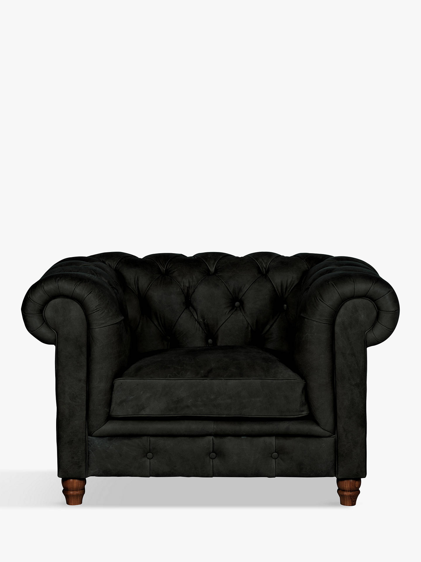 Buy Halo Earle Chesterfield Leather Armchair, Riders Black Online at johnlewis.com