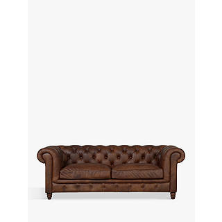 Halo Earle Aniline Leather Chesterfield Large Sofa Antique Whisky