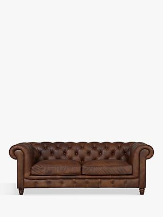 Halo Earle Chesterfield Large 3 Seater Leather Sofa, Antique Whisky