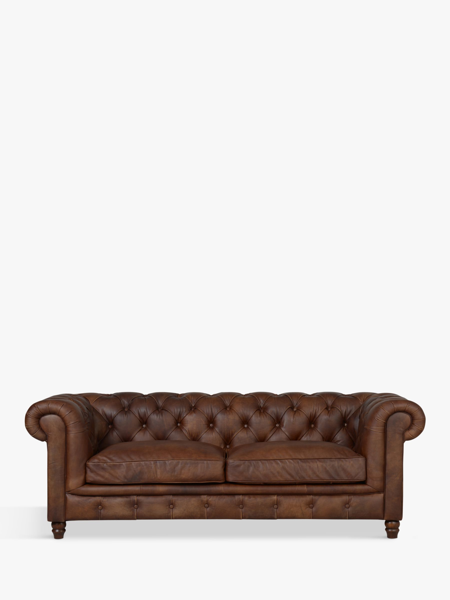 Halo Halo Earle Chesterfield Large 3 Seater Leather Sofa, Antique Whisky