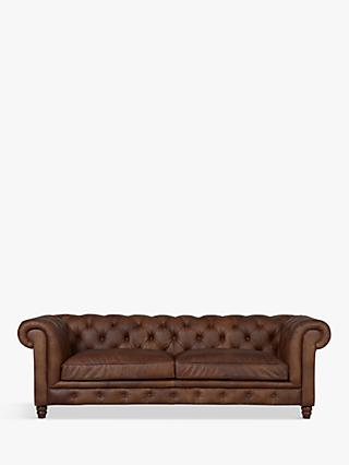 Halo Earle Aniline Leather Chesterfield Grand Sofa, Antique Whisky