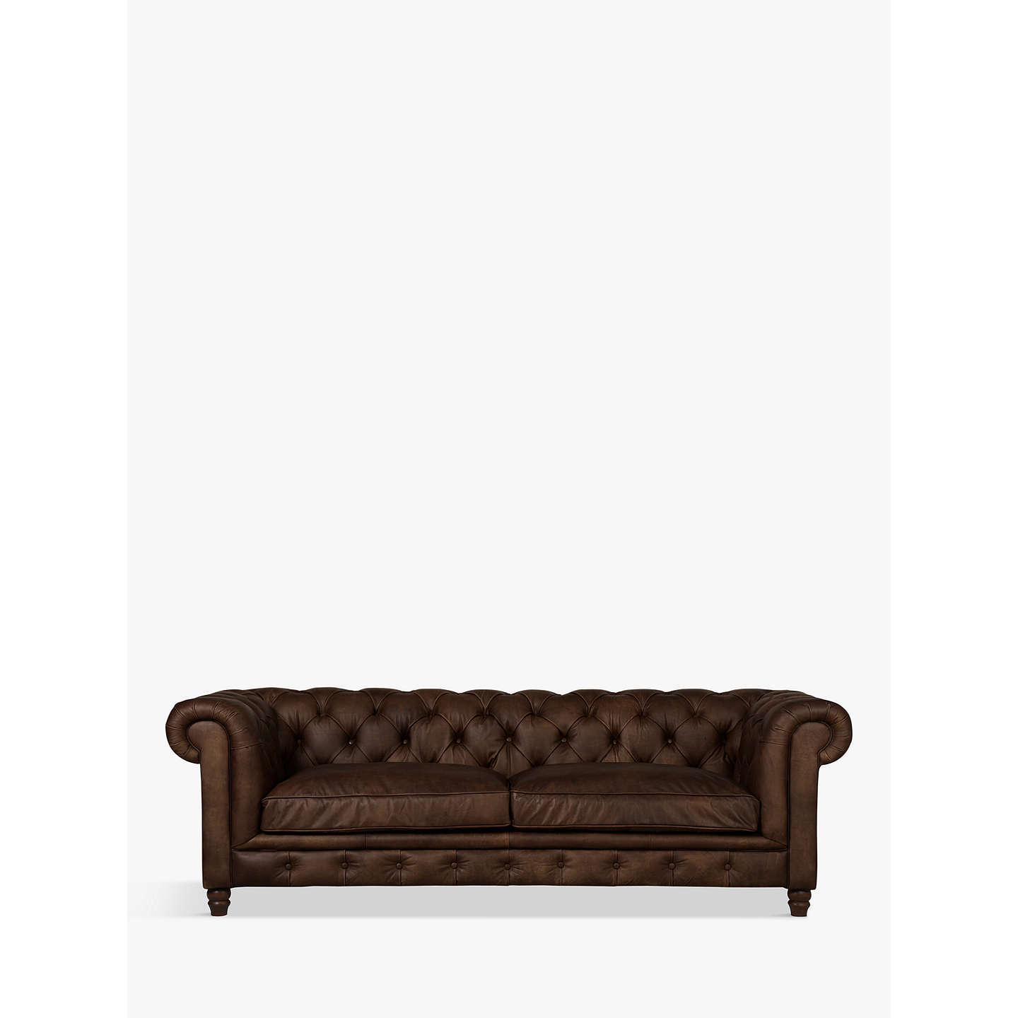 Superior BuyHalo Earle Large Chesterfield Leather Sofa, Riders Cocoa Online At  Johnlewis.com ...