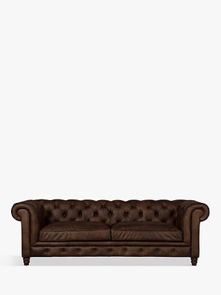 Buy Halo Earle Chesterfield Large 3 Seater Leather Sofa, Riders Cocoa Online at johnlewis.com
