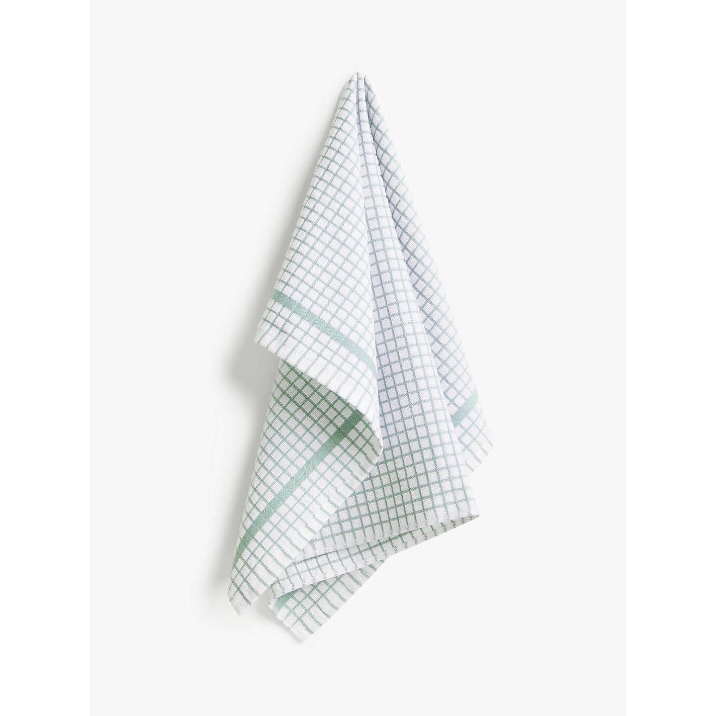 John Lewis Terry Check Tea Towel, Green by John Lewis