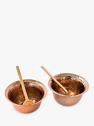 Just Slate Copper Bowls With Spoons, Set of 2
