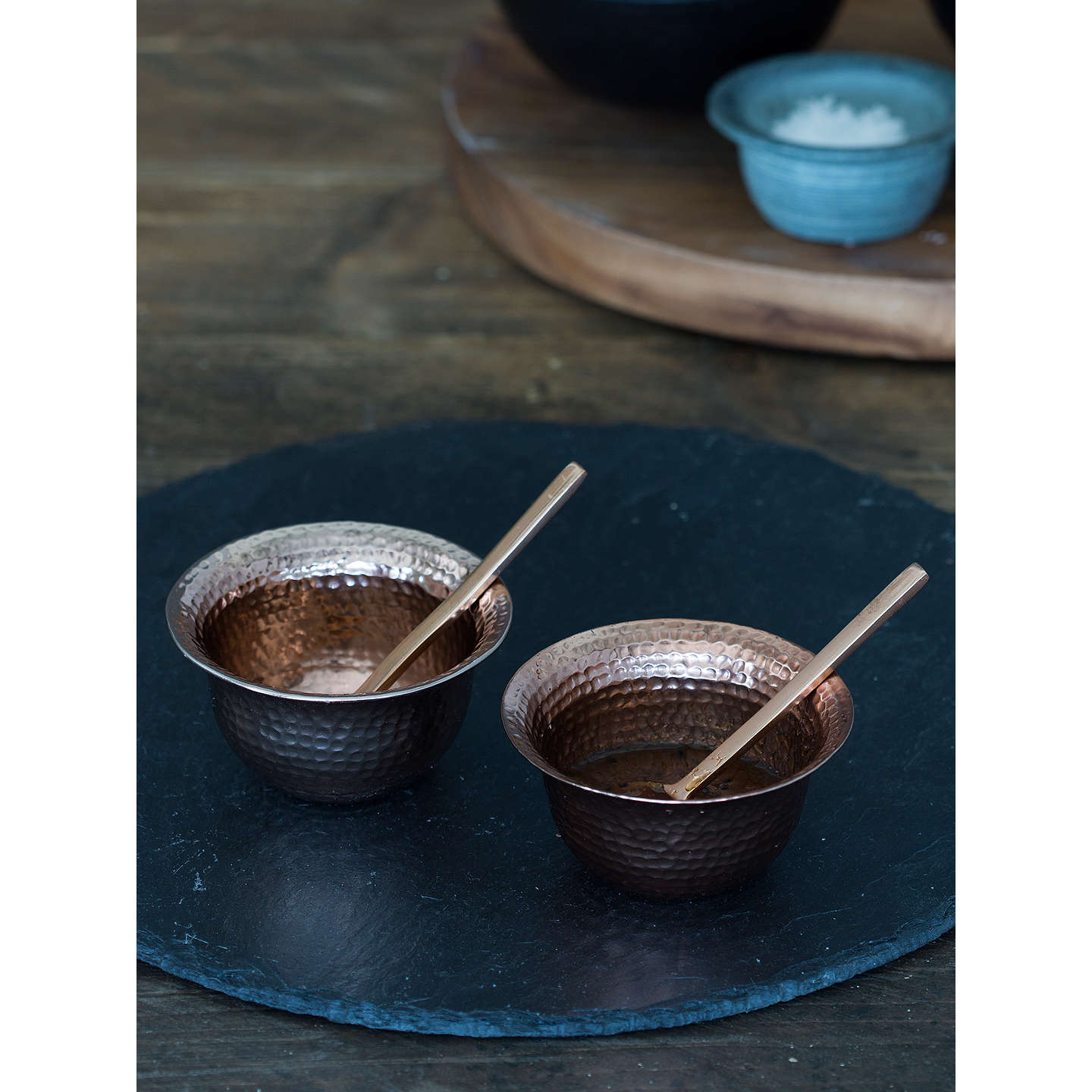 BuyJust Slate Copper Bowls With Spoons, Set of 2 Online at johnlewis.com
