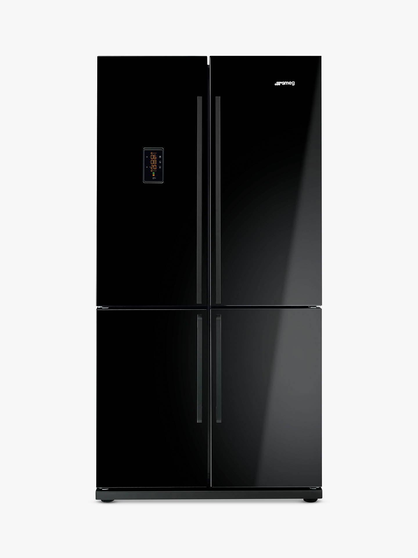 Buy Smeg FQ60NPE 4-Door American Style Fridge Freezer, A+ Energy Rating, 90cm Wide, Black Online at johnlewis.com