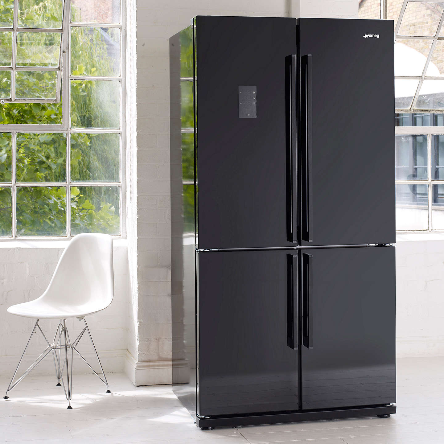 BuySmeg FQ60NPE 4-Door American Style Fridge Freezer, A+ Energy Rating, 90cm Wide, Black Online at johnlewis.com