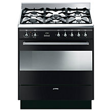 Buy Smeg SUK81MBL8 Dual Fuel Range Cooker, Black Online at johnlewis.com