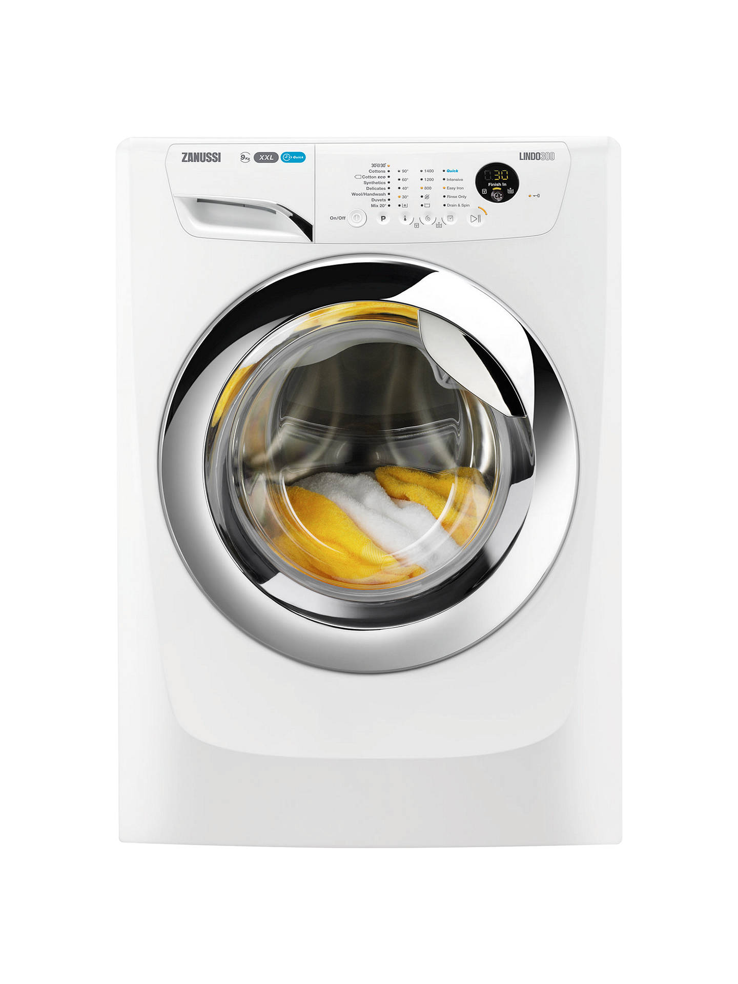 Buy Zanussi ZWF91483WH Washing Machine, 9kg Load, A+++ Energy Rating, 1400rpm Spin, White Online at johnlewis.com