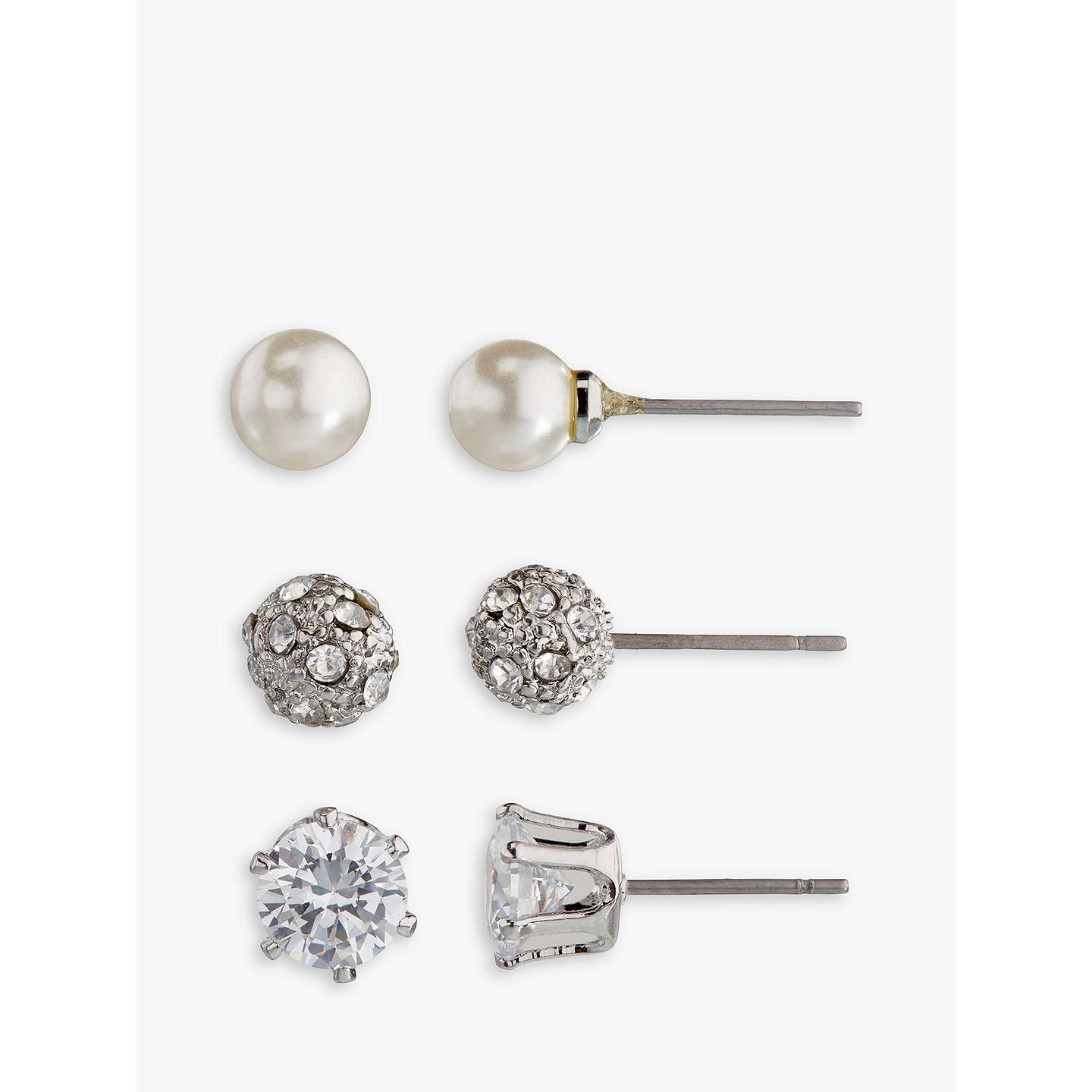 BuyJohn Lewis Faux Pearl and Diamante Round Stud Earrings, Pack of 3, Silver/White Online at johnlewis.com
