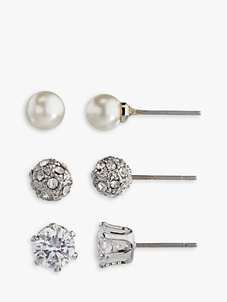 John Lewis & Partners Faux Pearl and Diamante Round Stud Earrings, Pack of 3, Silver/White