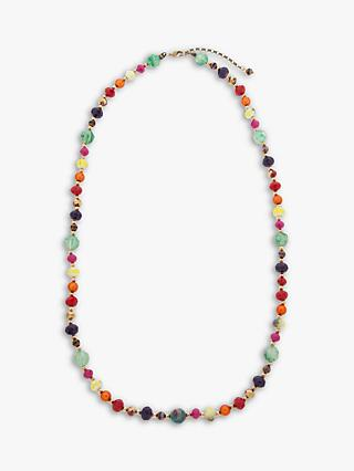 One Button Bright Bead Long Necklace, Multi