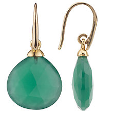 Buy John Lewis Gemstones Gold Plated No Collet Tear Drop Earrings, Green Onyx Online at johnlewis.com