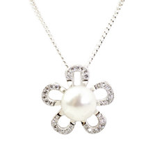 Buy A B Davis Sterling Silver Freshwater Flower Pearl Pendant Necklace, Silver/White Online at johnlewis.com