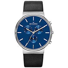 Buy Skagen SKW6105 Men's Ancher Chronograph Leather Strap Watch, Black/Blue Online at johnlewis.com