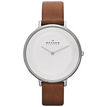Buy Skagen SKW2214 Women's Ditte Leather Strap Watch, Brown/White Online at johnlewis.com