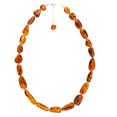 Be-jewelled Amber Necklace Sterling Silver Clasp, Cognac
