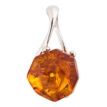 Buy Be-Jewelled Amber Facet Style Silver Sterling Pendant, Cognac Online at johnlewis.com