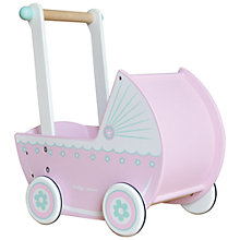 Buy Indigo Jamm Wooden Pram, Pink/White Online at johnlewis.com