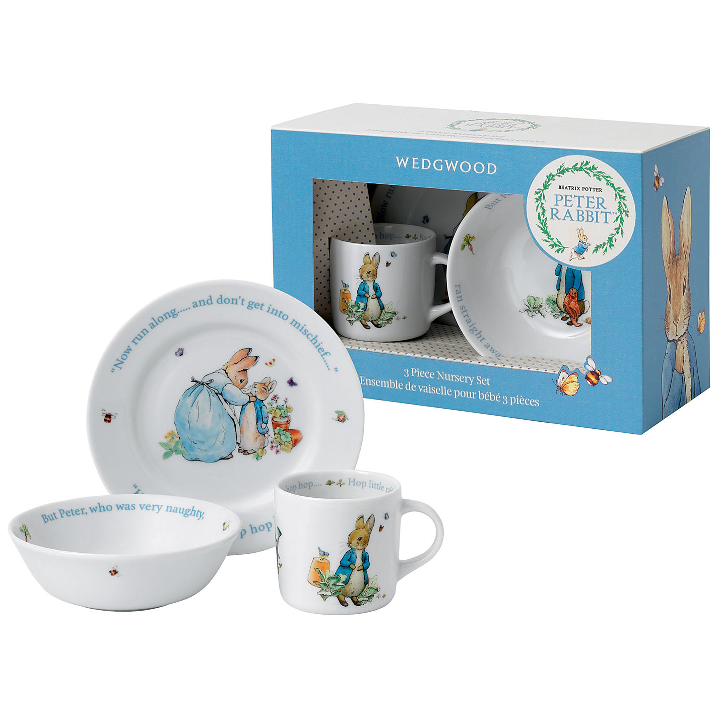 Beatrix Potter Peter Rabbit Wedgwood 3 Piece Nursery Set Online At Johnlewis
