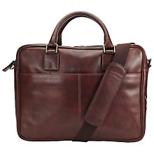 "Buy John Lewis Gladstone 15.4"" Laptop Leather Briefcase, Antique Tan Online at johnlewis.com"
