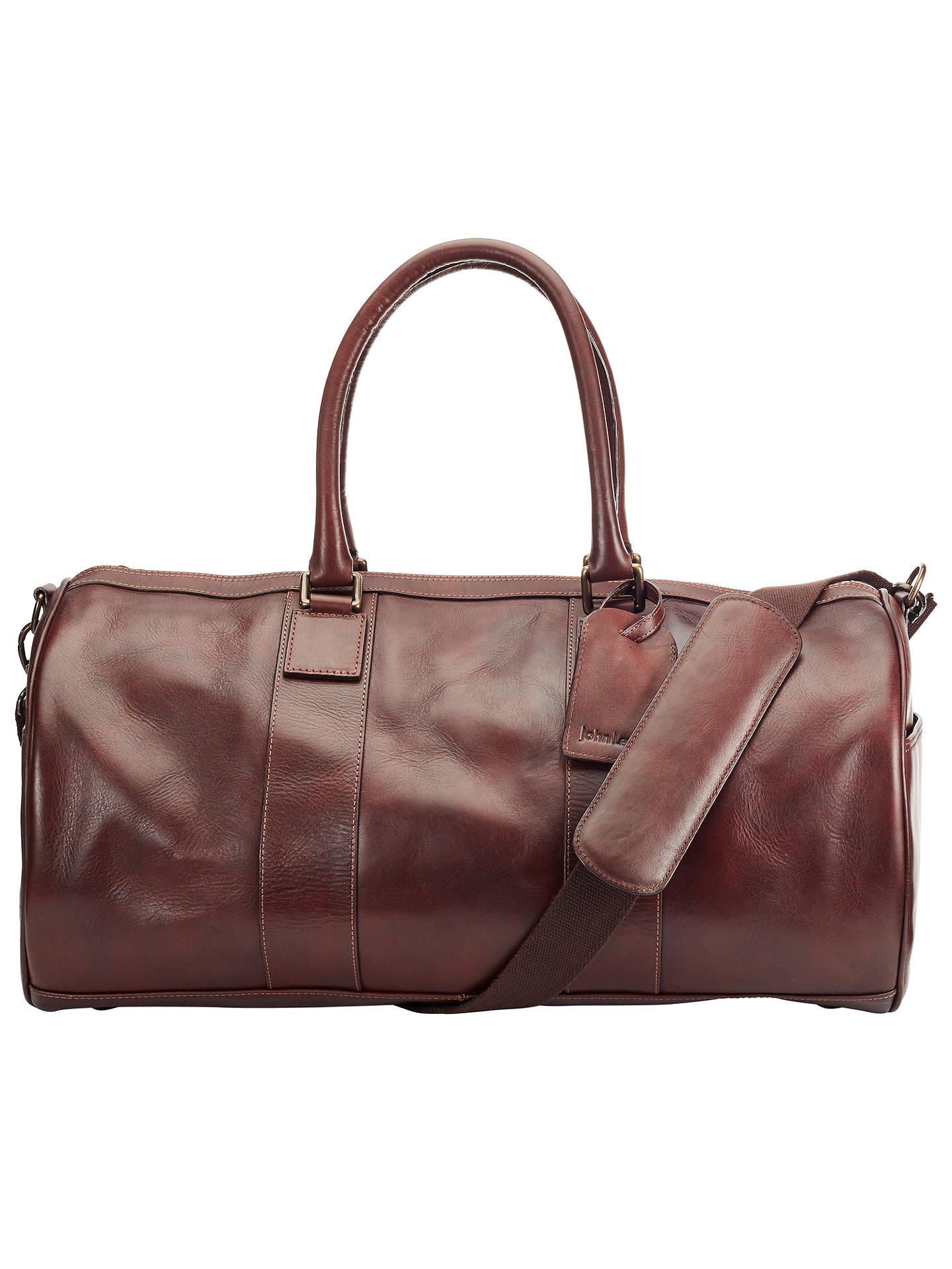 John Lewis Gladstone Leather Barrel Bag Antique Tan Online At Johnlewis