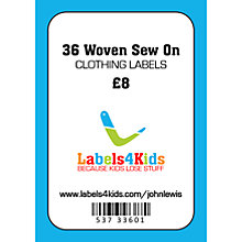 Buy Labels4Kids Woven Sew On Clothing Labels, Pack of 36 Online at johnlewis.com