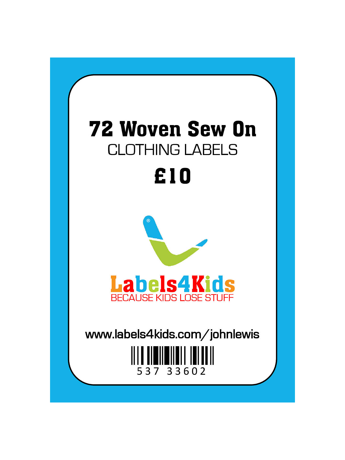 BuyLabels4Kids Woven Sew On Clothing Labels, Pack of 72 Online at johnlewis.com