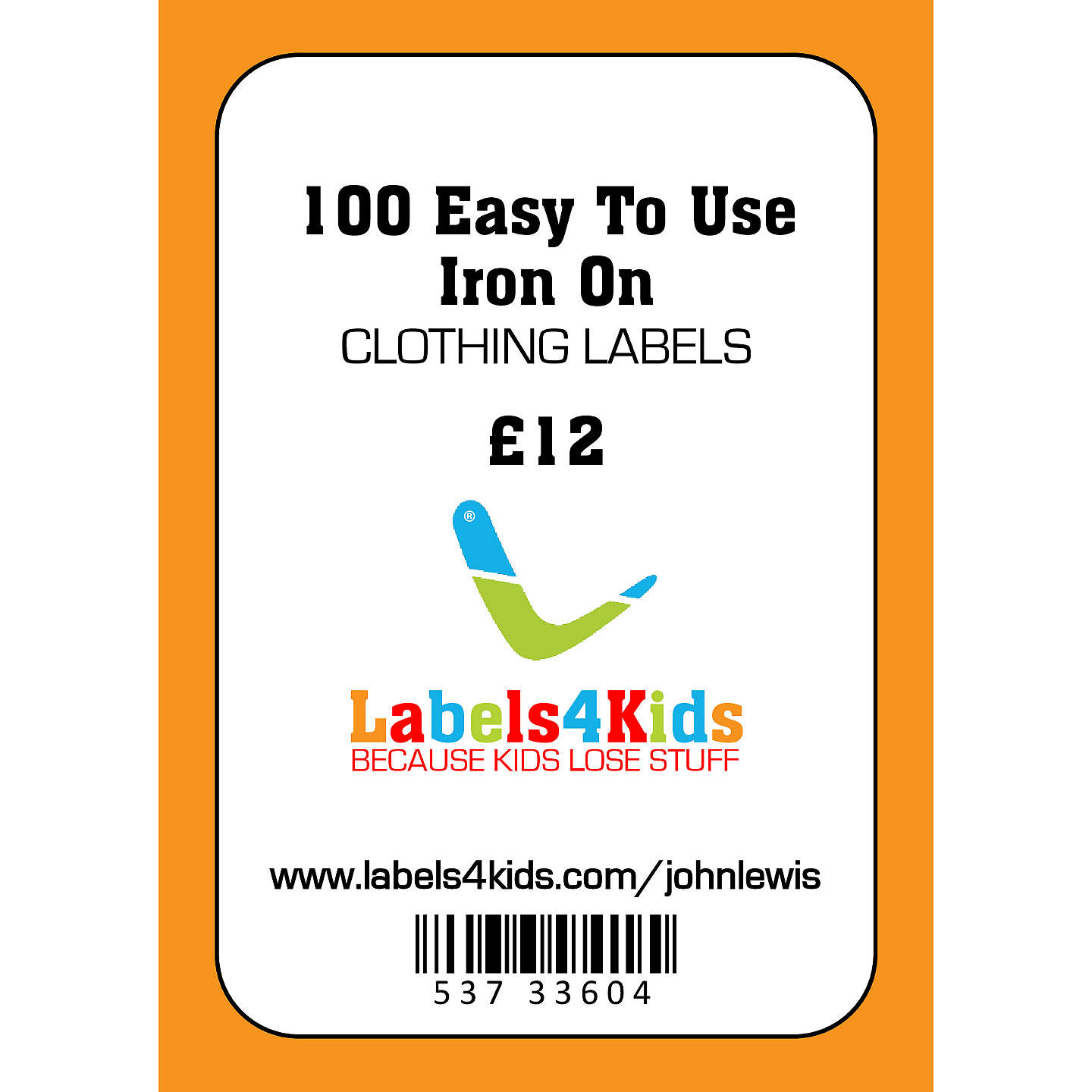 BuyJohn Lewis Labels4Kids Easy Iron On Clothing Labels, Pack of 100 Online at johnlewis.com