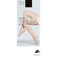 Buy John Lewis 10 Denier Tights, Pack of 2, XXL Online at johnlewis.com