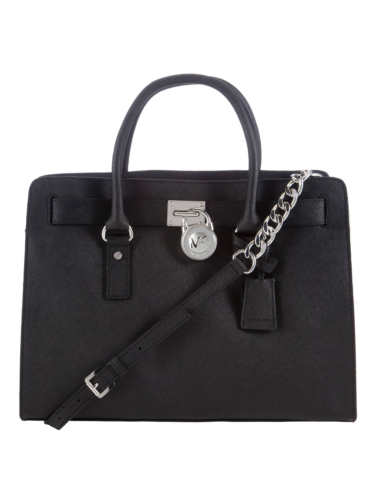 6bb7b55ed016 Buy MICHAEL Michael Kors Hamilton Large Leather Satchel Bag, Black Online  at johnlewis.com ...
