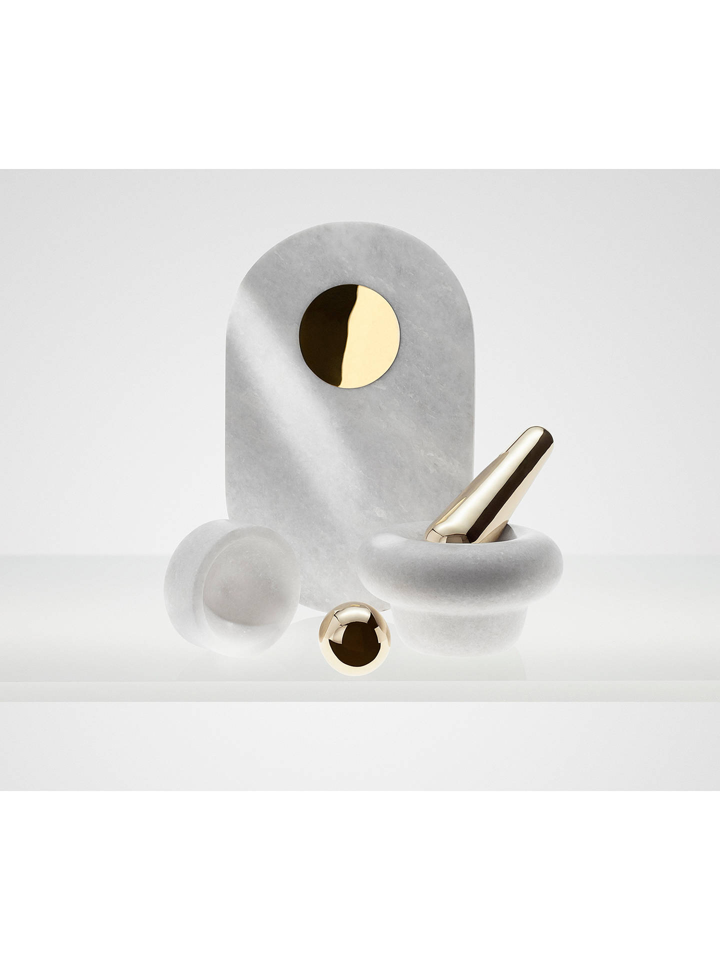BuyTom Dixon Stone Pestle and Mortar, White and Gold Online at johnlewis.com