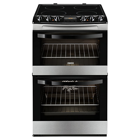Buy Zanussi ZCV48300XA Electric Cooker, Black/Stainless Steel Online at johnlewis.com